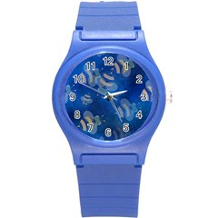 Seamless Bee Tile Cartoon Tilable Design Round Plastic Sport Watch (s) by Nexatart