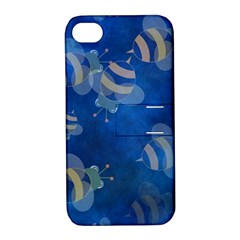 Seamless Bee Tile Cartoon Tilable Design Apple Iphone 4/4s Hardshell Case With Stand by Nexatart