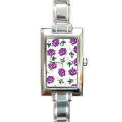 Purple Roses Pattern Wallpaper Background Seamless Design Illustration Rectangle Italian Charm Watch