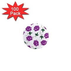 Purple Roses Pattern Wallpaper Background Seamless Design Illustration 1  Mini Magnets (100 Pack)  by Nexatart