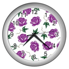 Purple Roses Pattern Wallpaper Background Seamless Design Illustration Wall Clocks (silver)  by Nexatart