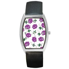 Purple Roses Pattern Wallpaper Background Seamless Design Illustration Barrel Style Metal Watch