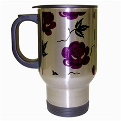 Purple Roses Pattern Wallpaper Background Seamless Design Illustration Travel Mug (silver Gray) by Nexatart