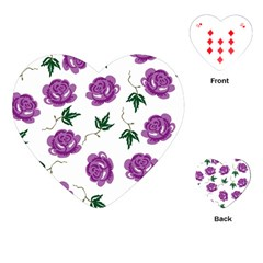 Purple Roses Pattern Wallpaper Background Seamless Design Illustration Playing Cards (heart)  by Nexatart