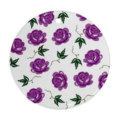 Purple Roses Pattern Wallpaper Background Seamless Design Illustration Round Ornament (two Sides)