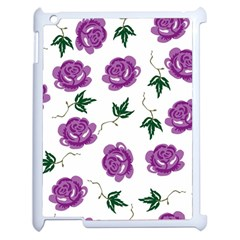 Purple Roses Pattern Wallpaper Background Seamless Design Illustration Apple Ipad 2 Case (white) by Nexatart