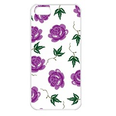 Purple Roses Pattern Wallpaper Background Seamless Design Illustration Apple Iphone 5 Seamless Case (white)