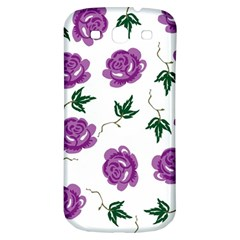 Purple Roses Pattern Wallpaper Background Seamless Design Illustration Samsung Galaxy S3 S Iii Classic Hardshell Back Case by Nexatart
