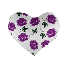 Purple Roses Pattern Wallpaper Background Seamless Design Illustration Standard 16  Premium Heart Shape Cushions