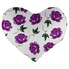 Purple Roses Pattern Wallpaper Background Seamless Design Illustration Large 19  Premium Heart Shape Cushions by Nexatart
