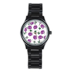 Purple Roses Pattern Wallpaper Background Seamless Design Illustration Stainless Steel Round Watch by Nexatart
