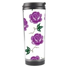 Purple Roses Pattern Wallpaper Background Seamless Design Illustration Travel Tumbler by Nexatart