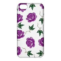 Purple Roses Pattern Wallpaper Background Seamless Design Illustration Apple Iphone 5c Hardshell Case by Nexatart