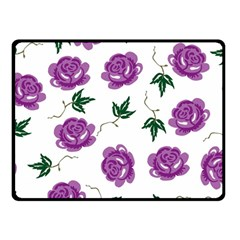 Purple Roses Pattern Wallpaper Background Seamless Design Illustration Double Sided Fleece Blanket (small)