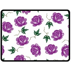 Purple Roses Pattern Wallpaper Background Seamless Design Illustration Double Sided Fleece Blanket (large)  by Nexatart