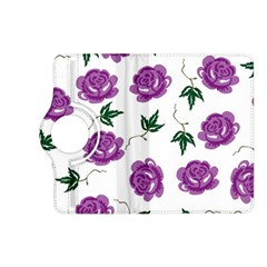 Purple Roses Pattern Wallpaper Background Seamless Design Illustration Kindle Fire Hd (2013) Flip 360 Case