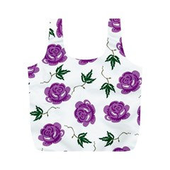 Purple Roses Pattern Wallpaper Background Seamless Design Illustration Full Print Recycle Bags (m)  by Nexatart