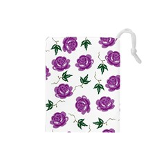 Purple Roses Pattern Wallpaper Background Seamless Design Illustration Drawstring Pouches (small)