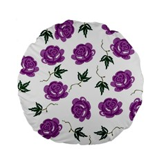 Purple Roses Pattern Wallpaper Background Seamless Design Illustration Standard 15  Premium Flano Round Cushions