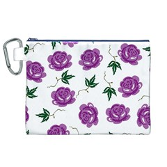 Purple Roses Pattern Wallpaper Background Seamless Design Illustration Canvas Cosmetic Bag (xl) by Nexatart