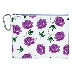 Purple Roses Pattern Wallpaper Background Seamless Design Illustration Canvas Cosmetic Bag (xxl) by Nexatart