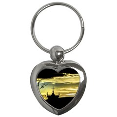 Graves At Side Of Road In Santa Cruz, Argentina Key Chains (heart)  by dflcprints