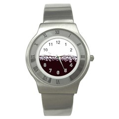 Bubbles In Red Wine Stainless Steel Watch by Nexatart