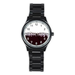 Bubbles In Red Wine Stainless Steel Round Watch