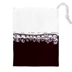 Bubbles In Red Wine Drawstring Pouches (xxl) by Nexatart