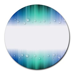 Blue Stripe With Water Droplets Round Mousepads by Nexatart
