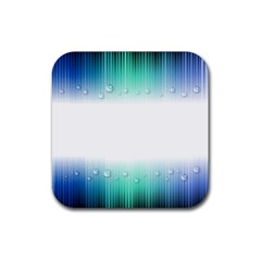 Blue Stripe With Water Droplets Rubber Square Coaster (4 Pack)  by Nexatart