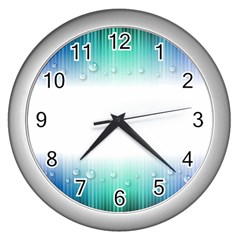 Blue Stripe With Water Droplets Wall Clocks (silver)  by Nexatart