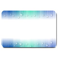 Blue Stripe With Water Droplets Large Doormat  by Nexatart