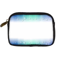 Blue Stripe With Water Droplets Digital Camera Cases by Nexatart