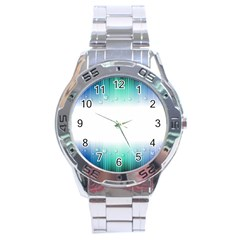 Blue Stripe With Water Droplets Stainless Steel Analogue Watch