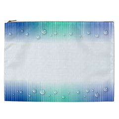 Blue Stripe With Water Droplets Cosmetic Bag (xxl)  by Nexatart
