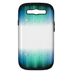 Blue Stripe With Water Droplets Samsung Galaxy S Iii Hardshell Case (pc+silicone) by Nexatart