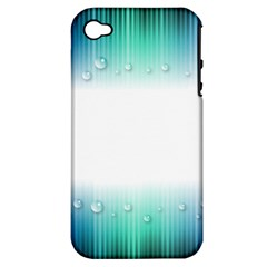 Blue Stripe With Water Droplets Apple Iphone 4/4s Hardshell Case (pc+silicone)