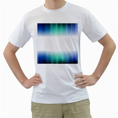 Blue Stripe With Water Droplets Men s T Shirt (white)