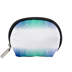 Blue Stripe With Water Droplets Accessory Pouches (small)  by Nexatart