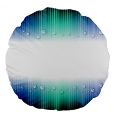 Blue Stripe With Water Droplets Large 18  Premium Flano Round Cushions by Nexatart