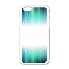 Blue Stripe With Water Droplets Apple Iphone 6/6s White Enamel Case by Nexatart