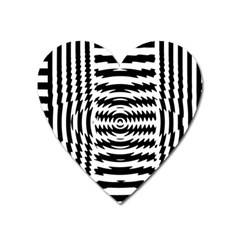 Black And White Abstract Stripped Geometric Background Heart Magnet by Nexatart