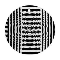 Black And White Abstract Stripped Geometric Background Round Ornament (two Sides)