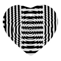 Black And White Abstract Stripped Geometric Background Heart Ornament (two Sides) by Nexatart