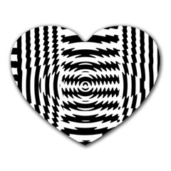 Black And White Abstract Stripped Geometric Background Heart Mousepads