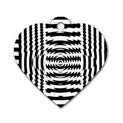 Black And White Abstract Stripped Geometric Background Dog Tag Heart (two Sides) by Nexatart