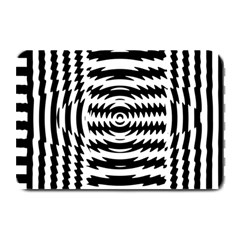 Black And White Abstract Stripped Geometric Background Plate Mats by Nexatart