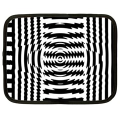 Black And White Abstract Stripped Geometric Background Netbook Case (xl)  by Nexatart