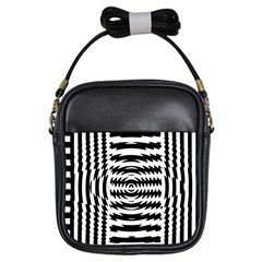 Black And White Abstract Stripped Geometric Background Girls Sling Bags by Nexatart